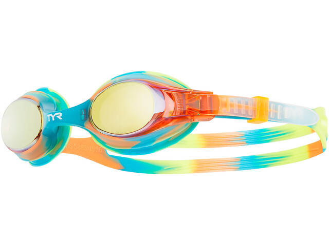 TYR Swimple Tie Dye Mirrored Lunettes de protection Enfant, gold/turquoise